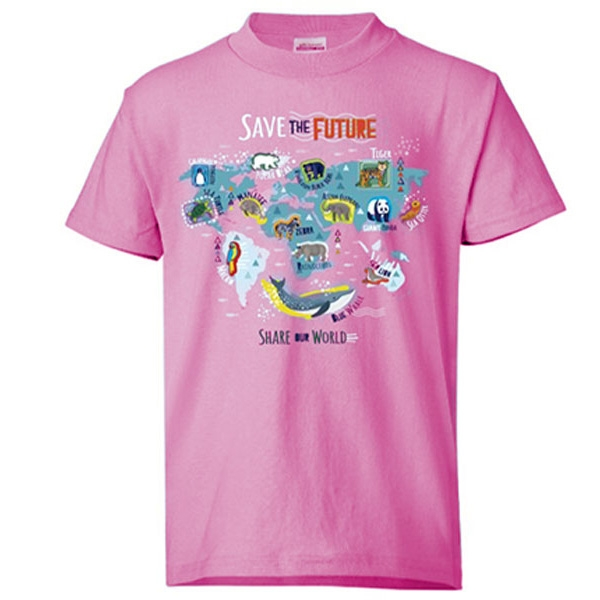 YOUTH SHORT SLEEVE TEE ECO SAVE THE FUTURE - LIGHT PINK