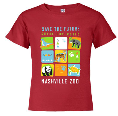 YOUTH SHORT SLEEVE TEE SAVE THE FUTURE CUBES - CARDINAL