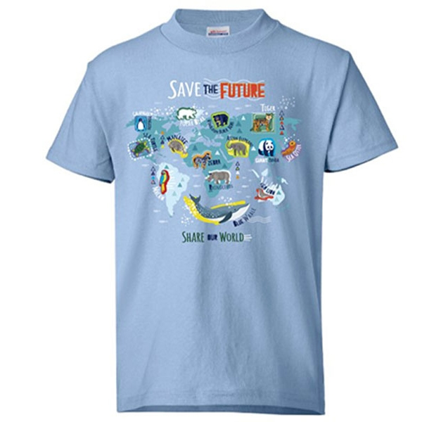YOUTH SHORT SLEEVE TEE ECO SAVE THE FUTURE - BLUE