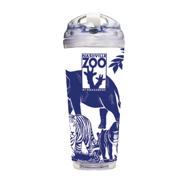 TUMBLER LOGO ANIMAL COLLAGE BLUE