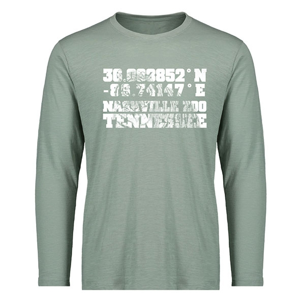 ADULT LONG SLEEVE TEE TIGER NASHVILLE ZOO COORDINATES